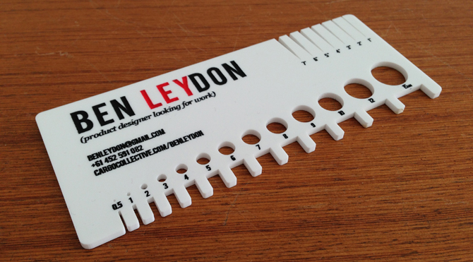 Business card ben leydon result the business card is also a tool for anyone who might use dimensions in their work it contains measurements for diameters and spaces ranging from colourmoves